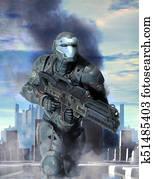 Futuristic soldier armor at war