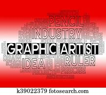 Graphic Artist Indicates Creative Illustrative And Artists