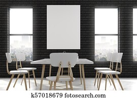 Modern dining room with poster