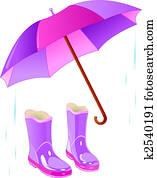 Rain boots and umbrella