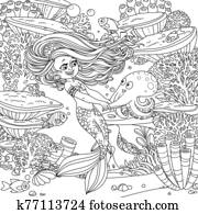 Cartoon little mermaid girl dancing with an octopus on underwater world with corals, actinia and fishes outlined background outlined