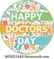 glücklich, doktoren, tag, design