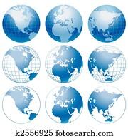 Globe icons.