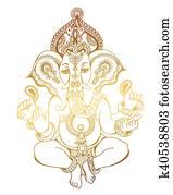 Clipart Hindou Seigneur Ganesha Orne Croquis Dessin Tatouage