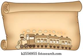 Old parchment with train