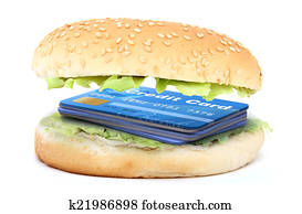 sandwich stuffed with a credit cards