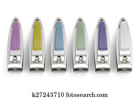 set of nail clippers isolated on white background