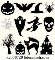vektor, halloween, elements.