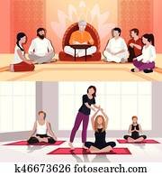 Yoga And Spiritual Lesson Flat Compositions