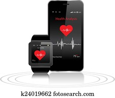 Smartwatch and Smartphone with health apps