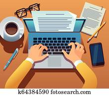 Writer writes document. Journalist create storytelling with laptop. Hands typing on computer keyboard. Story writing vector concept