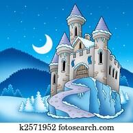 Frozen castle in winter landscape
