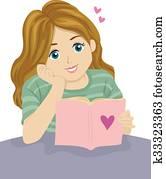 Teen Girl Reading Romance Book