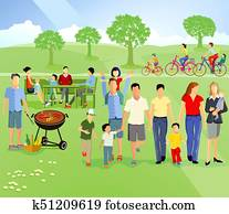 Family picnic in nature
