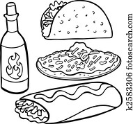 Mexican Food Items Line Art