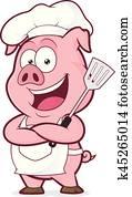 schwein, küchenchef, halten, a, spachtel