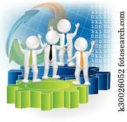 Teamwork 3d people business logo