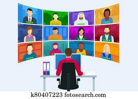Video conference. Online meeting work form home. Home office. Multiethnic business team. Stay at home and work from home concept during Coronavirus pandemic