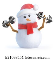 3d Snowman works out with weights