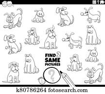 find two same dogs picture color book page