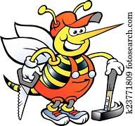 Happy Working Carpenter Bee