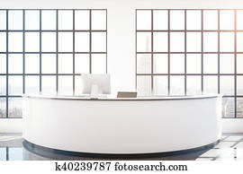 Reception desk with NY view
