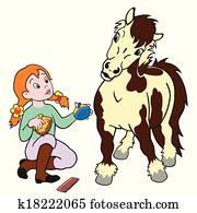 cartoon girl grooming pony