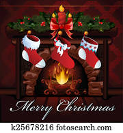 Christmas fireplace vector illustration