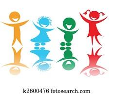 Happy children in colors