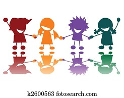 Happy children in many colors