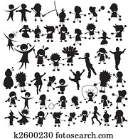 Happy children silhouettes