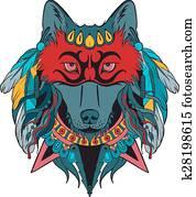 indische, krieger, wolf