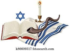 Yom kippur element on white background