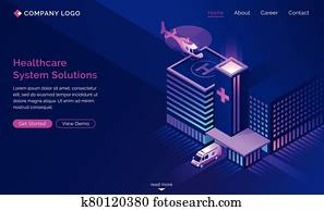 Healthcare system solutions isometric landing page