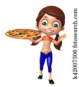 kid girl with Pizza