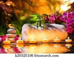 spa massage in garden - water