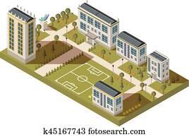 Student Quarter Isometric Landscape