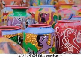 Stock Photography Of Terracotta Pots Indian Handicrafts Fair At