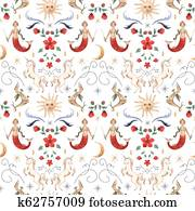 Watercolor vector pattern medieval illustrations