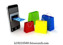 3d mobile phone and credit card, online shopping concept