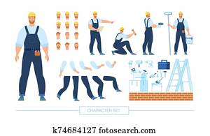 Construction Worker Character Constructor Vector