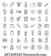 Homeopathy health icons set, outline style