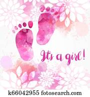 It's a girl - floral background