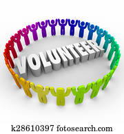 Volunteer People in Ring Around 3d Word Donate Time