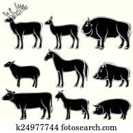 牛鹿漫画_セット, の, 鹿, 馬, ヤギ, ヤク, 水牛, そして, 豚, silhouettes ...