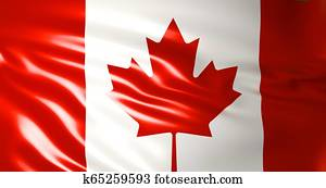 Canada flag in the wind. 3d illustration.