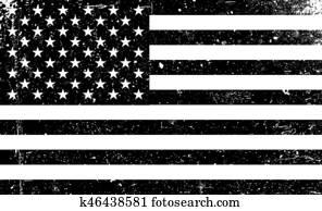 grunge, monochrom, vereinigten staaten, flag., schwarz wei?, vektor, abbildung, mit, grunge, texture.