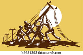 Team of linemen raising up electricity post done in reteo woodcut style.