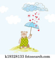 Baby Bear with Umbrella - Baby Shower Card - in vector