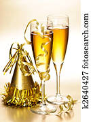 Champagne and New Years party decorations